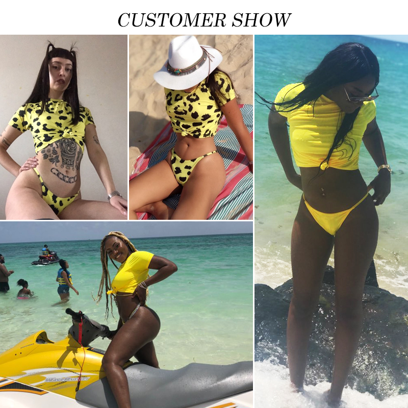 Knot crop top bikini 2019 Leopard swimwear women bathers Yellow push up swimsuit female T-shirt thong bikini sexy bathing suit