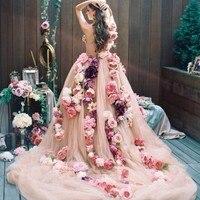 Luxury 3D Floral Wedding Dress 2017 Couture Handmade Flower Chapel Train Bridal Gown Vestido Longo Wedding Gown Robe De Mariage