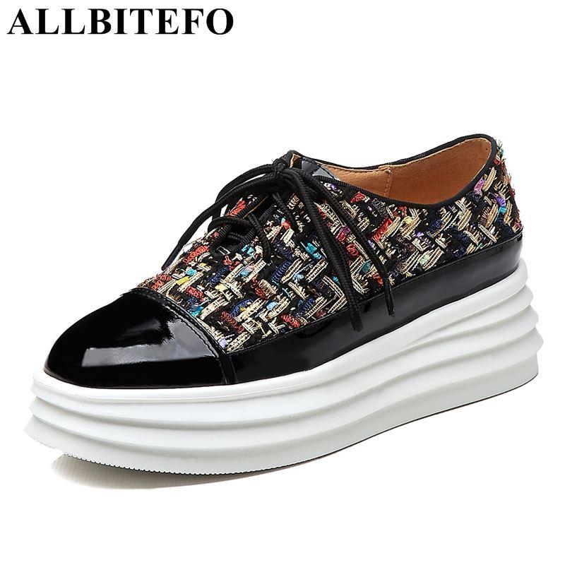 Tela Tacón negro Cuero Marca Casuales Deporte Mujeres Cuñas Zapatillas Genuino De Plataforma Zapatos Mujer Respiro Las Moda Beige Allbitefo Color 4nXH8n