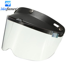Universal 3-Snap Retro Open Face Motorcycle Helmet Flip Up Visor Shield Lens Transparent