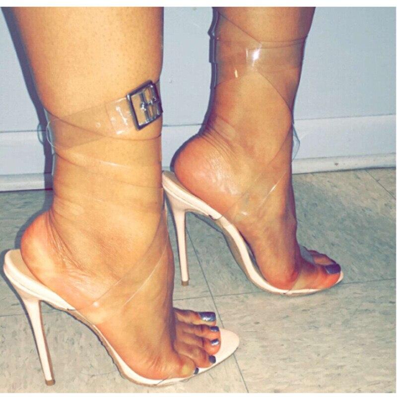 Clear Strappy Heels   Tsaa Heel
