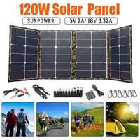 Solar Panel 120W 18V Solar Charger for camping Foldable solar cell Charger for Mobile Power Bank for Phone Battery DC/USB Por
