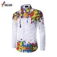 Brand MKASS Hot Sale Spring Autumn Features Shirts Men Casual 3D Shirt Long Sleeve Casual Slim