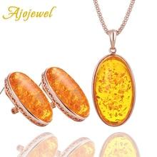 Ajojewel Big Yellow Stone Sets Jewelry For Women Pendant Necklace Earrings Set Fashion Jewellery Resin Bijoux