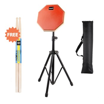 8'' Beginner Silent Practice Drum Pads With Stand Drumming Practise Dumpad Set For Drummers Gift 1 Pair Drumsticks D