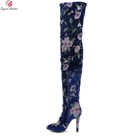Original Intention New Gorgeous Women Over the Knee Boots Thin High Heel Boots Thigh High Blue Shoes Woman Plus US Size 4 15