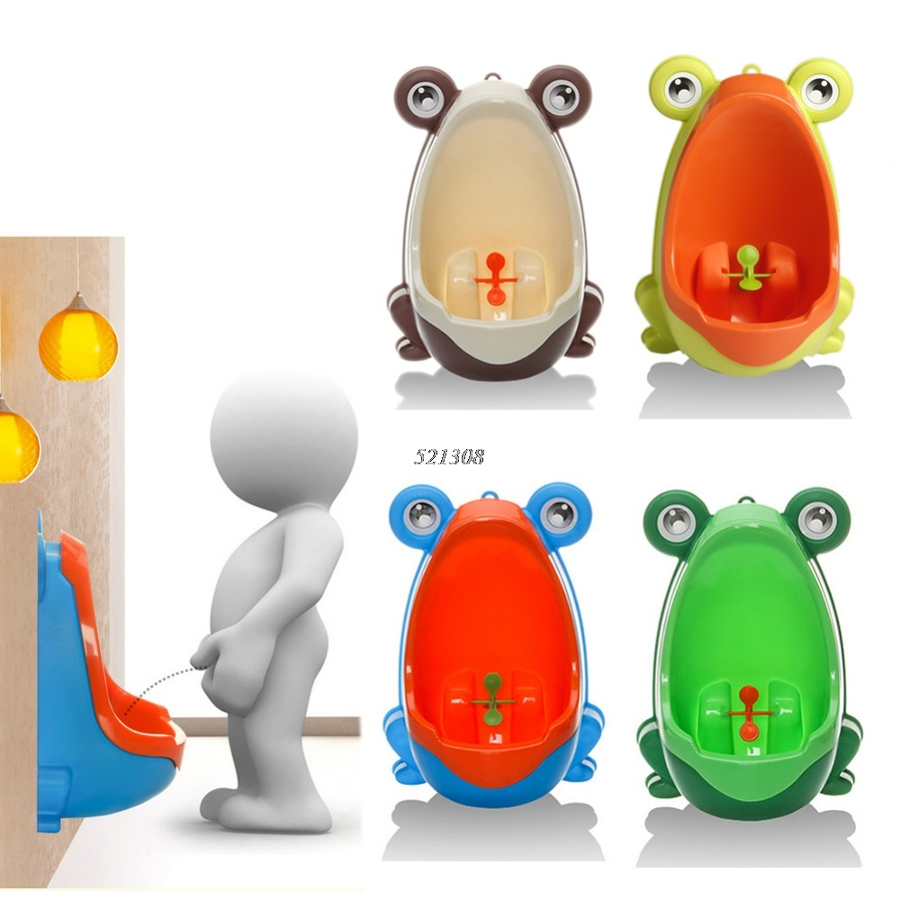 Cute Animal Boy's Portable Potty Urinal Standing Toilet Penico Frog Shape Vertical Wall-Mounted Pee Boy Bathroom Urinal Closet