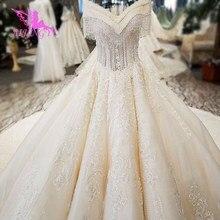 AIJINGYU לבן שמלת אירוסין הלבוש מדהים בציר מברשת יולדות פשוט סקסי שמלות חתונת טול כלה שמלות