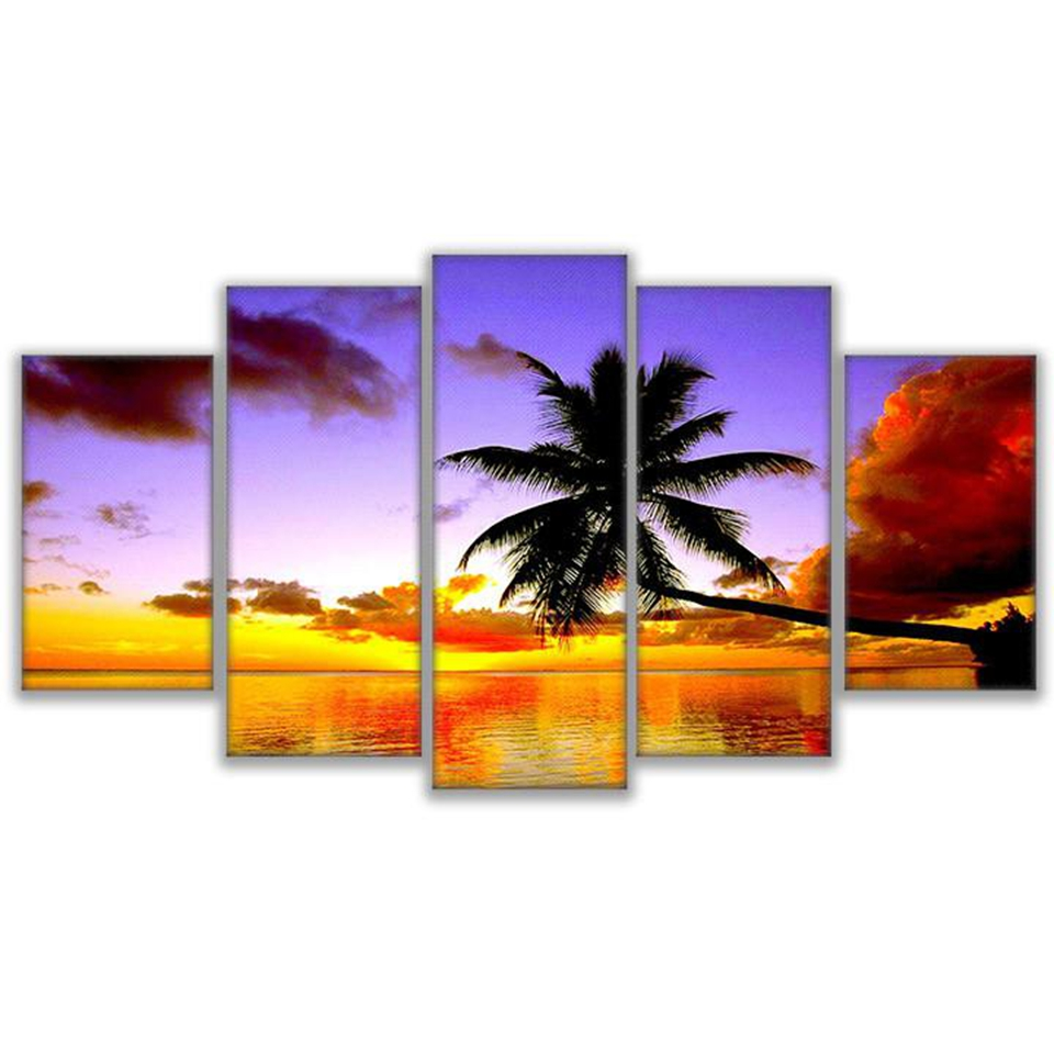 Modular Canvas Paintings Living Room Wall Art Decor 5 Pieces Orange And Red Sky Poster HD Prints Palm Tree Sea Pictures Framed