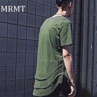 2016 Explosion Spot New Summer T Shirt Extended Hem Arc Multiple Folds Zipper Tshirt Male T