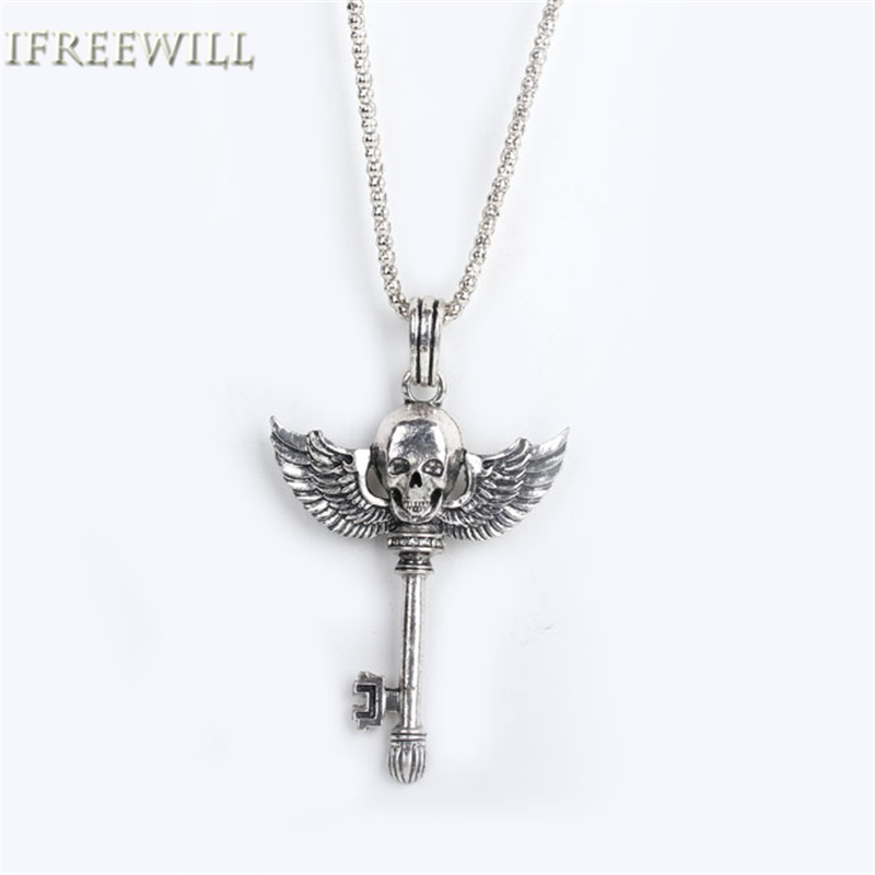 IFREEWILL Official Store Silver Key Unisex Pendant Necklace IFREEWILL Pop Rock Style Skeleton Charms wings class of 2017 Sweater chain Fashion Jewelry