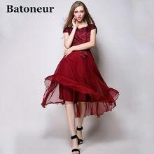 Mode 2018 New Spring Summer Frauen Elegante Silk Dünne Plus größe Kurzarm  Langes Kleid Entwürfe Casual Rot Bule Schöne gürtel 295638fc11