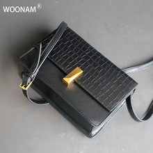 WOONAM Vrouwen Handtas Top Verbergen Echt Leer in Alligator Patroon Patched Kleine Satchel Cross Body Schoudertas WB835(China)