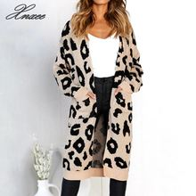 Women long cardigan sleeve sweater overcoat for female women 2019 autumn new outwear coats Xnxee