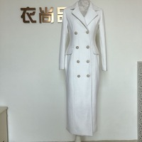 Winter Retro Woolen Coat Large Lapel Slim Waist White Long Thick pearl double breasted wool blends coat