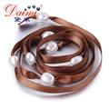Daimi 9-10mm Natural Baroque Pearl Bracelet 100cm DIY Style White Freshwater Pearl & Silk Ribbon Bracelet