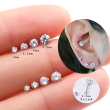 Sellsets 1piece 20g Barbell Tiny Round Zircon CZ Stud Earring Ear Tragus Helix Rook Piercing Jewelry for Men and Women(China)