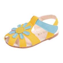 9b81132b3be7ea Toddler Baby Girl Sandals Sunflower Sole Children Princess Sandals Shoes  Beach Flip Flops flat heels soft