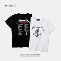 Fashion Brand T Shirt Kids Boys Skull Retro Rock Metal Band Design Cool Print Round Neck