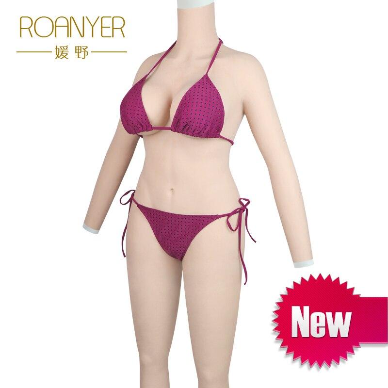 Roanyer shemal silicone formas de mama seios falsos para crossdresser transgêneros fatos de corpo inteiro com os braços