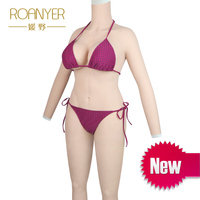 Roanyer silicone breast forms shemal whole body suits with arms transgender fake boobs for crossdresser