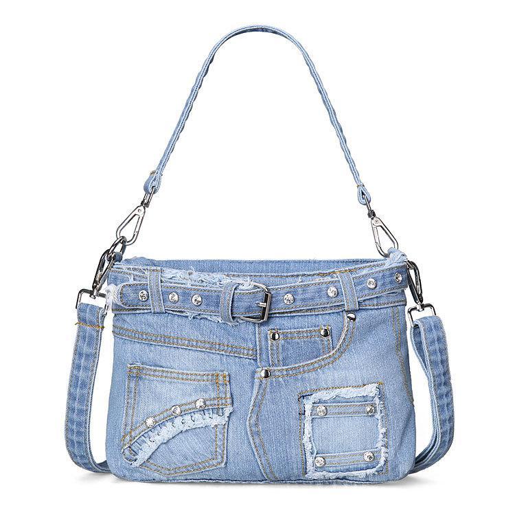 Bolsa para Mulheres Bolsas de Senhora Bolsas de Ombro para Mulheres Bolsas de Cowboy para Mulheres Calça Jeans Moda Casual Denim Totes Tote Bolsa