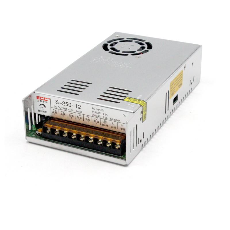 Switching Power Supply S-250W-12V 20.8A Package Postal AC Change DC Electric Machinery Monitor Video 50/60Hz Single switching mode power supply s 250w 24v 10 4a foot power electric machinery fan monitor ac change dc package postal