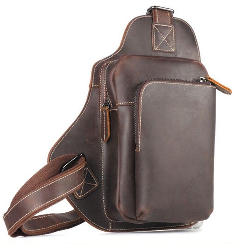 High Quality Genuine Leather Men Chest Day Back Pack Vintage Single Shoulder Bag Crazy Horse Cowhide
