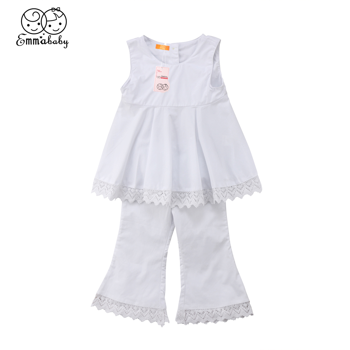 2018 new summer lace clothes set Newborn Kid Baby Girl sleeveless white lace Vest Dress Tops + Long flare Pants 2pcs outfit Set 2pcs children outfit clothes kids baby girl off shoulder cotton ruffled sleeve tops striped t shirt blue denim jeans sunsuit set