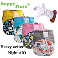 Feliz Flauta 1 unids heavy wetter night EA2 AIO bebé pañal de tela pañal un tamaño cupo todos