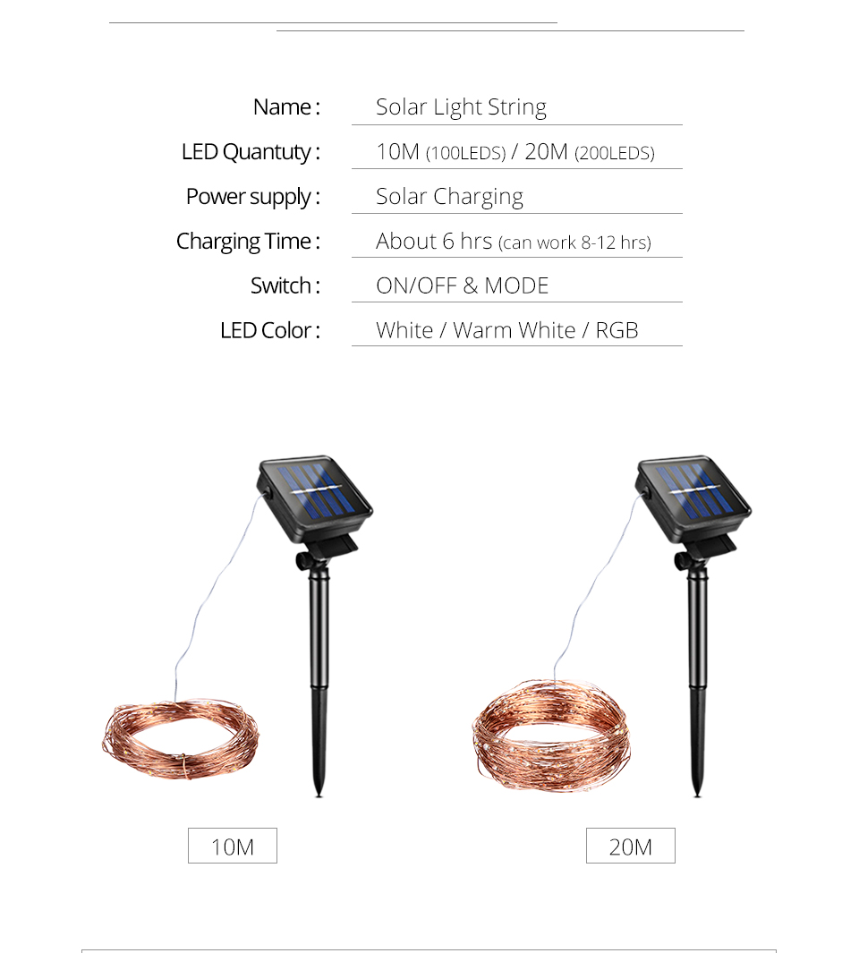 10M 20M Solar Power LED Garland Christmas Tree Fairy String Lights Chain Copper Wire Home Outdoor Christmas Holiday Decoration (4)