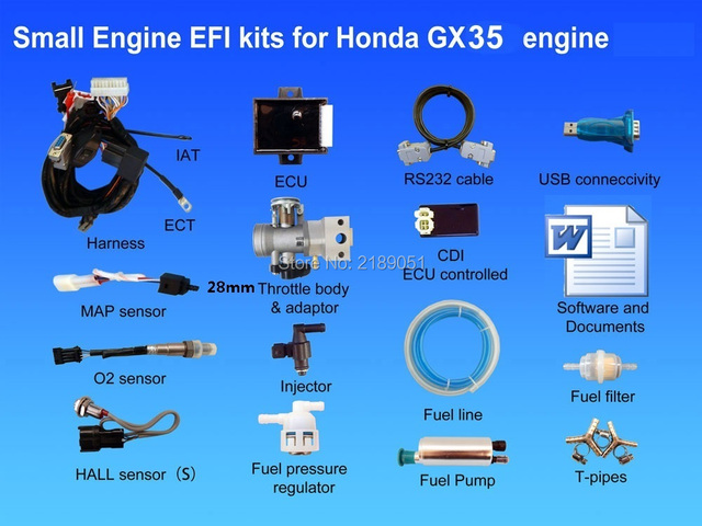 efi small engine electronic fuel injection kit for gx35 gx200 gx390  motorcycle motorbike motocross atv trail bike scooter