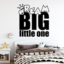 Cartoon dream big little one Wall Sticker Home Decor For Living Room Bedroom Decoration Waterproof Art Decal