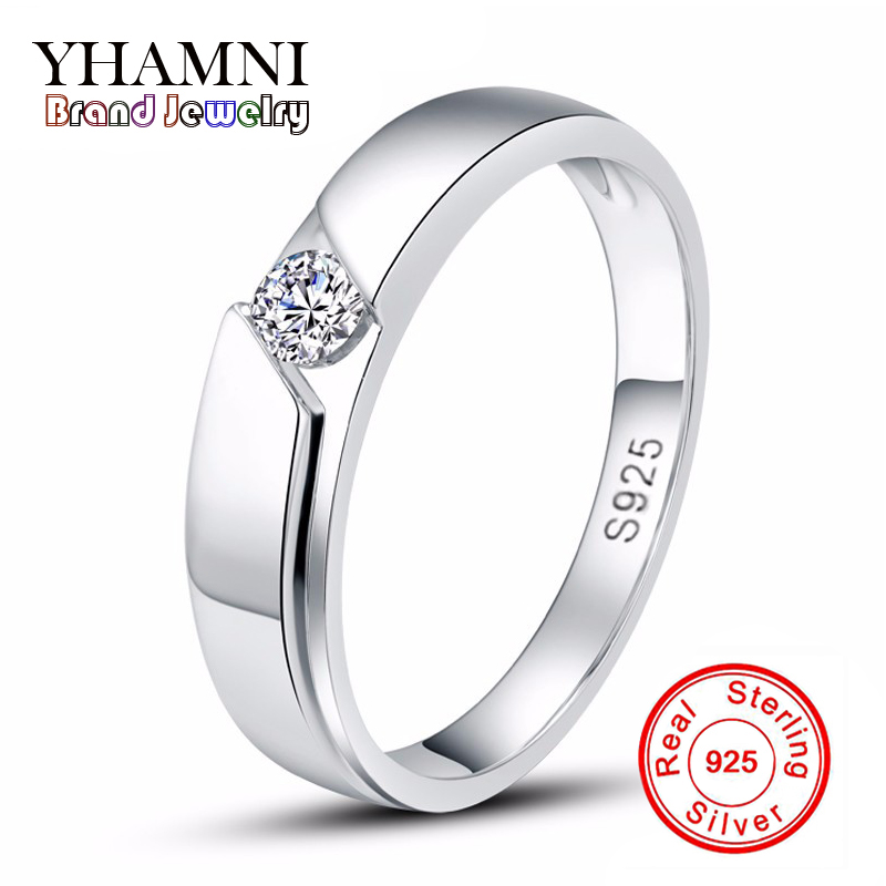 sent silver certificate real solid silver ring men 925 silver jewelry 05 carat cz diamant wedding rings for men and women ar77 - Platinum Wedding Rings For Women