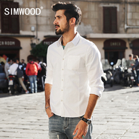 SIMWOOD 2017 Spring Summer New Casual Shirts Men White 100 Pure Cotton Slim Fit Plus Size