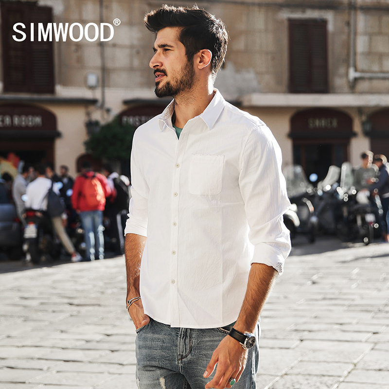SIMWOOD 2017 Spring Summer New Casual Shirts Men White 100% Pure Cotton Slim Fit Plus Size Brand Clothing High Quality CS1579