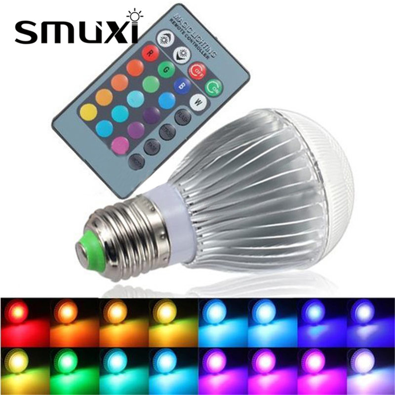 Smuxi LED RGB Light Bulb E27 9W Supper Bright 16Color Change Lamp Spotlight Bulb with IR Remote Control Decor Lighting AC85-256V color change remote control led animal shape night light