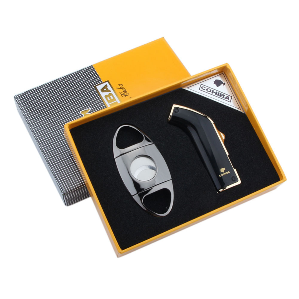 COHIBA Deluxe JET FLAME Cigarette Lighter And Stainless Steel Cigar Cutter With a Fashion Box as a Gift