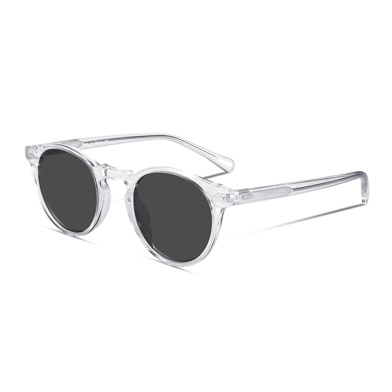 Retro Round Polarized Sunglasses For Men And Women Vintage Driving Outdoor Gregory Peck Oval Sun Glasses Light Acetate With Case