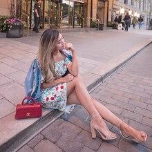 2019 explosion fashion print dress sexy word shoulder knees ladies wild split
