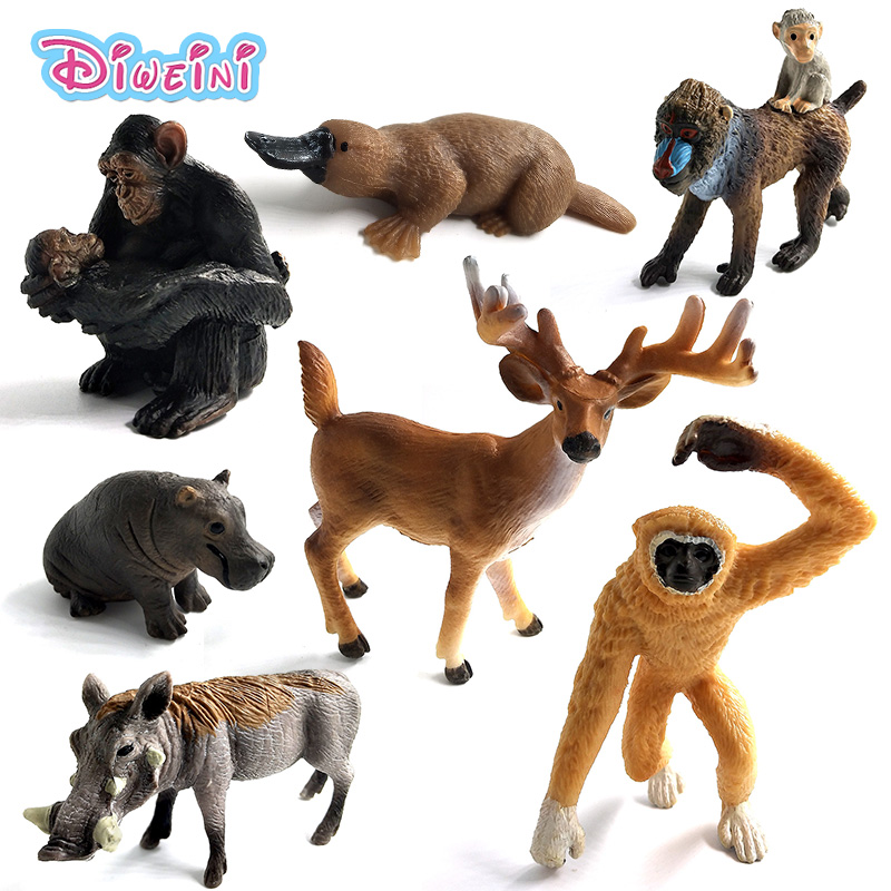 Simulation Forest Wild Animals Model Hippo Warthog Chimpanzee Polar Bear Deer Mandrill Antelope Lynx Gibbon Alpaca Platypus Toy