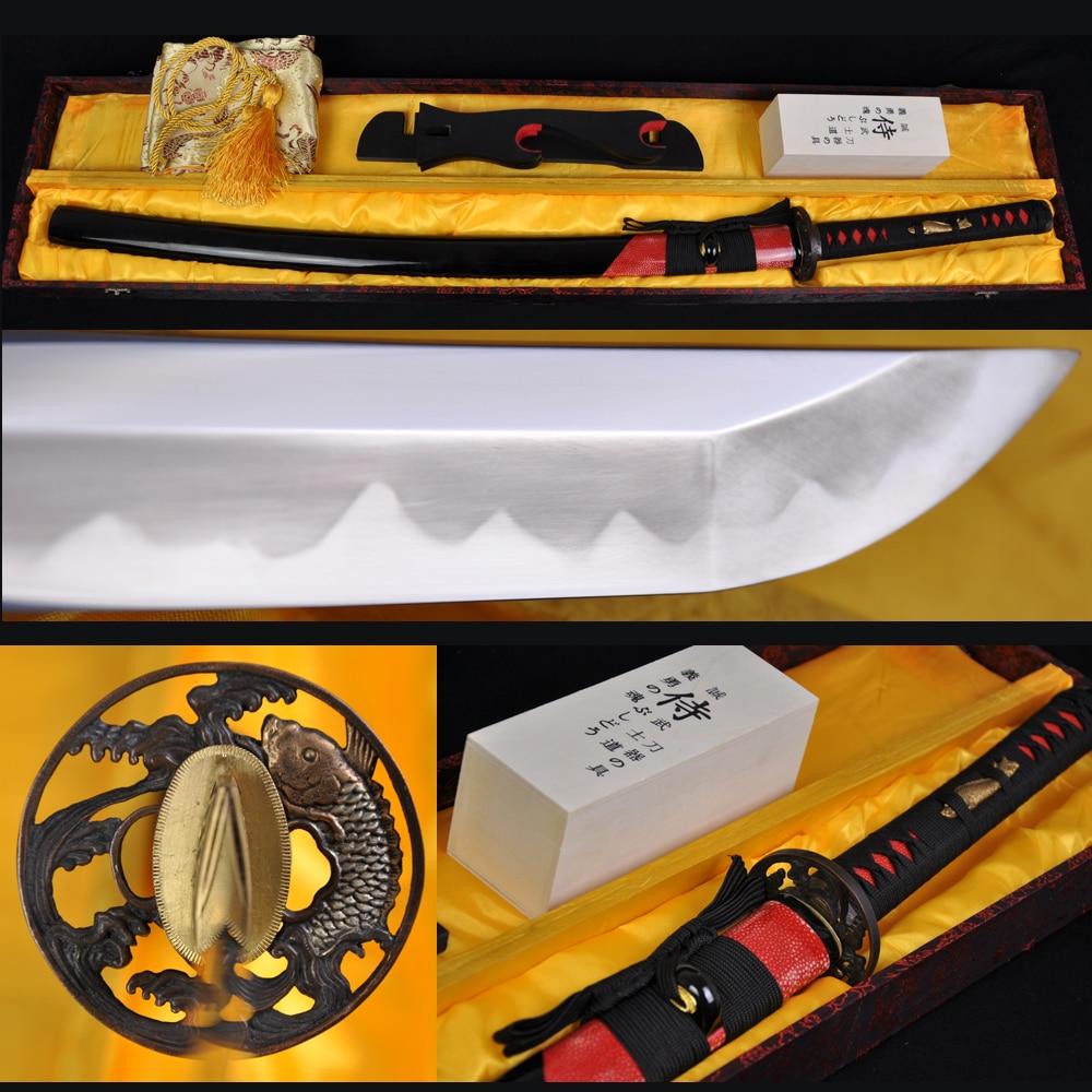 PLNÁ NÁDRŽ T10 ocelová hlína temperovaná hazuya leštění JAPONSKÁ SAMURAI SWORD KATANA SKUTEČNÝ RAYSKIN KRYTÝ RYBÁŘSKÝ RYB TSUBA