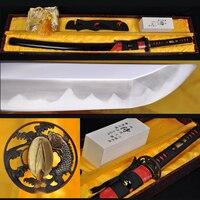 FULL TANG T10 steel clay tempered hazuya polishing JAPANESE SAMURAI SWORD KATANA REAL RAYSKIN COVERED SAYA BRASS FISH TSUBA