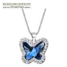 Neoglory Austria Crystal & Rhinestone Charm Long Necklace Glaring Butterfly Design Alloy Plated For Women Romantic Gift