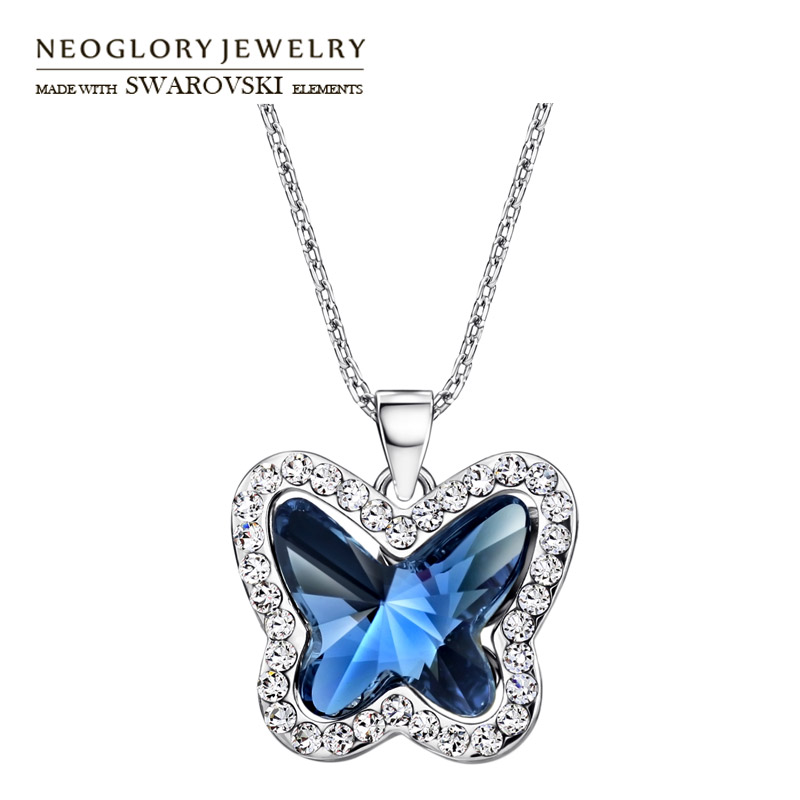 Neoglory Austria Crystal & Rhinestone Charm Long Necklace Glaring Butterfly Design Alloy Plated For Women Romantic Gift rhinestone alloy star necklace
