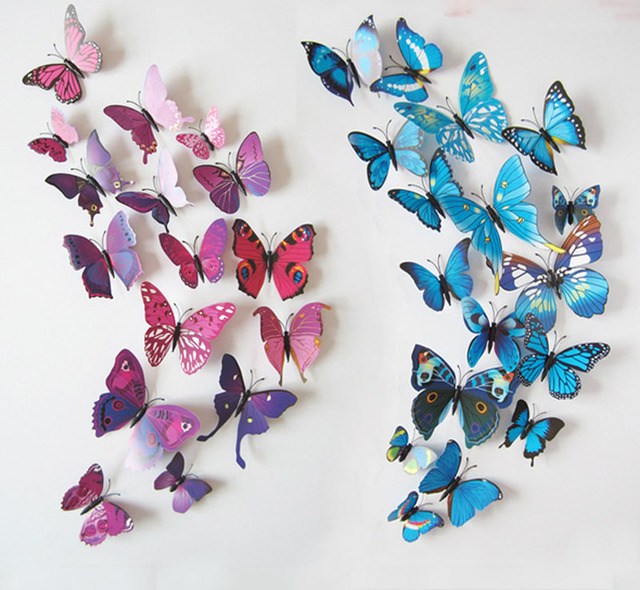 Exceptional 12PCS/SET PVC 3D Butterfly Wall Sticker Wall Art Removable Home Decoration  DIY Crafts Stcikers
