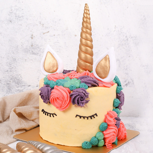 Unicorn Horn Birthday Cake Party Decorations Kids Gold Silver Decor Wedding