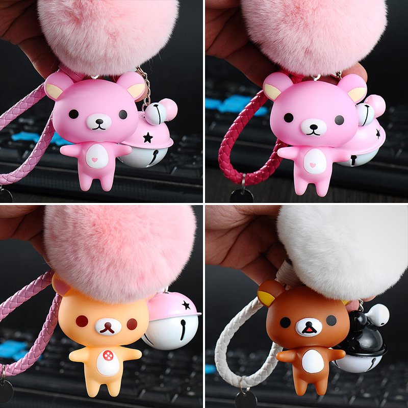 Rilakkuma Cute Car Bell Keychain Cartoon Easy Bear Lovely Bag Pendant Key Chain Gift Key Holder Fluffy Fur Ball Keyring Pompom
