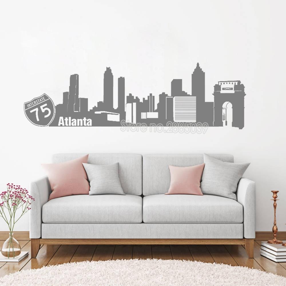 Beautiful City Atlanta Skyline Wall Sticker Home Decor