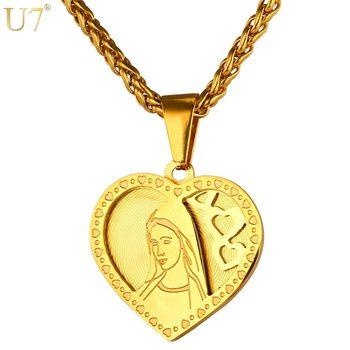 712b17207ead U7 marca corazón collar y colgante para las mujeres de Color oro de acero  inoxidable religiosa católica Madre Virgen María de regalo de la joyería de  P724